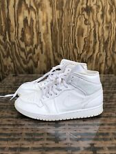 Nike Air Jordan 1 Mid Triple All White Basketball Shoes Men's Size 9 554724-109