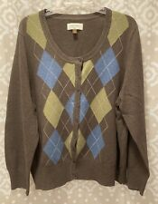 Sonoma Button-up Cardigan Sweater-Brown, Blue, Olive Green Argyle-2X