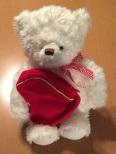 Hallmark White Bear With Zippered Heart Pouch