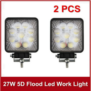 5D+ 2X 27W LED Flood Work Light Fog Lamp For Jeep OffRoad Boat 4inch Square Pods