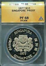 SINGAPORE- RARE 10TH ANNIVERSARY INDEPENDENCE PF SILVER 10 DOLLARS, 1977, PF68