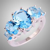 Size 6 7 8 9 10 11 12 13 Oval Cut Blue Topaz Gemstones Silver Ring Elegant Gifts