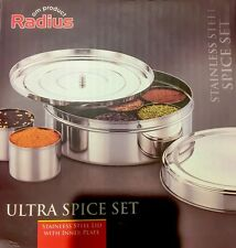 Stainless Steel Spice Dry Fruits Box Container Masala Dabba w Inner SS Plate AU