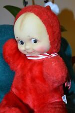 Red Plush Kewpie W/ Red Cap And Pompom, 10� Seated