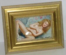 kleines Akt Ölbild, Handgemalt, Öl auf Holz, Blondy gold, 19cm x 15cm