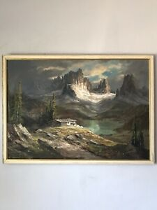 FASCINATING MOUNTAIN LANDSCAPE OIL PAINTING -SIGNED PLEIN AIR IMPRESSIONIST LAKE