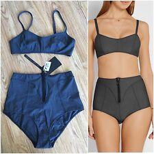 LISA MARIE FERNANDEZ Genevieve High-Waist Stretch-Denim Bikini. Size III/M. BNWT