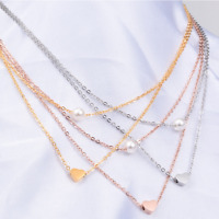 Stainless Steel Adjustable Two Layer Heart Pearl Pendant Necklace Women Girl PE7