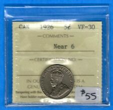 Canada 1926 Near 6 5 Cents Five Cent Nickel Coin - ICCS VF-30