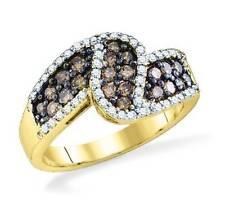 10K Yellow Gold Chocolate Brown & White Diamond Twist Ring 1.0ct Band - Elegant