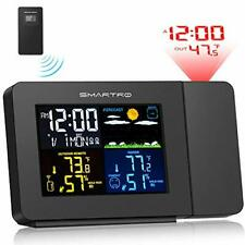 Smartro Sc91 Projection Alarm Clock for Bedrooms with Weather Station, (Black)