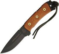 Tops OV78 Tan Micarta Tactical Overlander 2 Straight Black Fixed Knife + Sheath