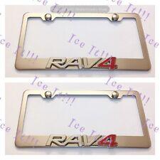 2x Toyota Rav4 RAV 4 Stainless Steel License Plate Frame Rust W/ Caps