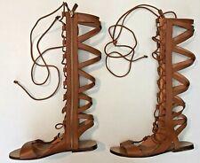 Sigerson Morrison Vero Cuoio Womens Gladiator Sandals Sz 7B Tan Lace - NWOB MINT