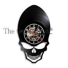 Demon Alien Skull Vinyl Record Wall Clock Goth Scary Cheekbones Eyes Wall Clock