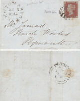 1844 QV COVER WITH A 1d PENNY RED STAMP PLATE 42 EARLIEST DATE TO PLYMOUTH WORKS