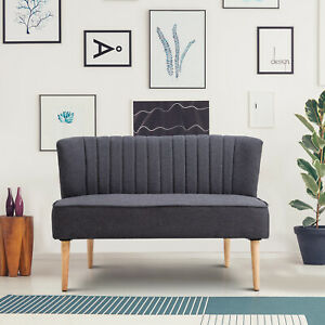HOMCOM Modern Double Seat Sofa Bed Loveseat Couch Padded Linen Wood Leg Dark