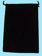 Chessex LARGE BLACK DICE BAG 5x7 SUEDE Drawstring Storage Pouch Velour Cloth RPG