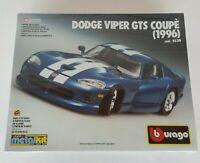 Burago DODGE VIPER GTS COUPE 1996 1/24 Model Body Plastic Parts Kit #5530 Sealed