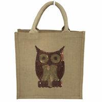 """Sequin Owl NWOT Jute Tote Bag Open Top 12"""" x 8"""" x 12"""" Grocery Beach Bag NEW"""