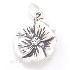 3D HIBISCUS Flower Pendant Bracelet Spring GARDEN Charm 925 Sterling Silver