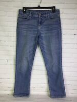 Tommy Hilfiger Womens Sz 4 Crop Blue Denim Jeans Distressed Medium Wash Mid Rise