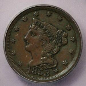 1853-P 1853 Braided Hair Half Cent ICG AU53 Details