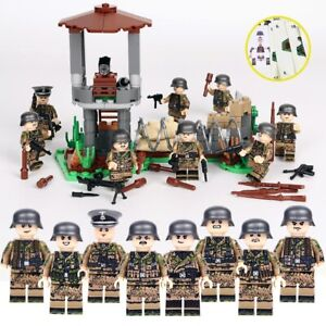 WW2 German 8 Pcs Set Mini Figures With Watch Tower US Seller (30207)