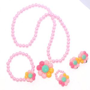 4Pcs Kids Baby Girls Pearls Flower Necklace Bracelet Ring Earrings Jewelry Set