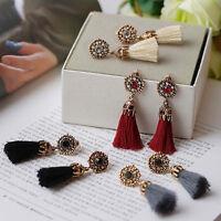 Vintage Women Tassel Rhinestones Crystal Drop Dangle Stud Party Earrings Jewelry
