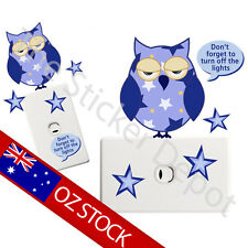 Owl Wall Safe MOVABLE Light Switch Sticker