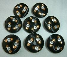 8 Striking Vintage Black Art Deco Glass Buttons Inset w/Luster Rhinestones 5/8""