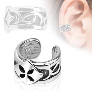 Ladies Rhodium Silver Ear Clips Pattern Four-Leaf Clover