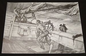 "Maritime Artist John A Noble Small Black & White 1971 Print ""KEEP HER OFF"""