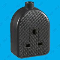 13A Black High Impact Rubber UK 3 Pin Mains Extension Trailing Socket Plug 1 Way