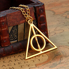 New Harry Potter Deathly Hallows Pendant Necklace Golden Pendant Christmas Gift