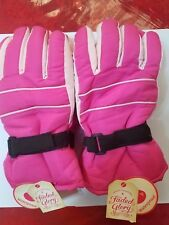 2 Pairs Faded Glory Solid Snow Gloves Waterproof Fuschia Color L- Xl Size Kids