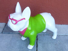 CHIEN BOULEDOGUE francais funny color FRENCH DOG hund SCULPTURE statue VERTE