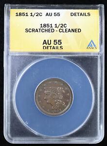 1851 1/2C Braided Hair Half Cent ANACS AU 55 Details