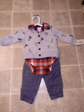 Cat & Jack 3-piece jacket, one piece flannel bodysuit, & pants pockets 0-3 mo