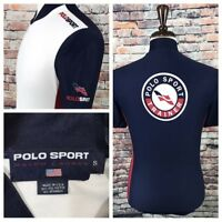 Vtg Polo Sport Ralph Lauren Flag Spell out USA Half Zip 90s Cycling Trainer S