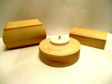 3 Ready to Paint Wood Catch All Trinket and Music Box for Crafts