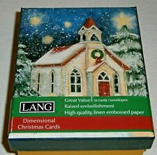 NEW! LOT of 16 LANG Christmas Cards ~ DIMENSIONAL Card DESIGN ~ SNOWY STEEPLE