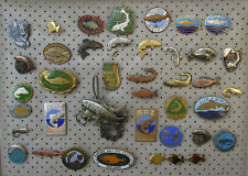 Vintage Fish Fishing Angeln Peche Lot 40 Pin Badge Abzeichen!