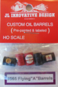 "CUSTOM OIL BARRELS FOR FLYING ""A"" (5) PAINTED, LABELED & DETAILED -HO-SCALE"