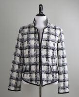 CHICO'S NWT $139 Shimmering Fringe Tweed Samuela Check Jacket Top Size 2 Large