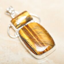 "Handmade Golden Tiger's Eye Gemstone 925 Sterling Silver Pendant 2.25"" #P14534"