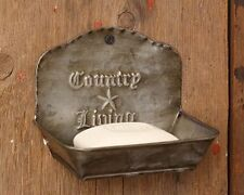 New Primitive FarmhouseTin Country Living Star Rusty Metal Wall Pocket Soap Dish