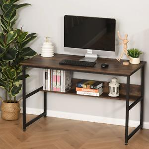 Large Rustic Home Office Desk Storage Shelf Laptop Study Workstation Table