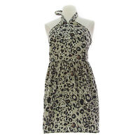 TOPSHOP Women's Grey Animal Print Halter Dress w/ Pockets 10M35Y US Size 6 NEW